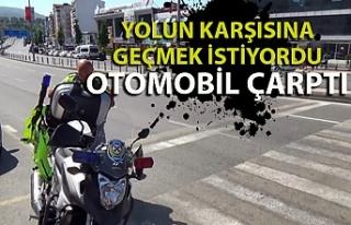 Zonguldak'ta yolun karşısına geçmek isteyen...