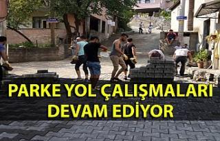 Zonguldak Belediyesi parke yol çalışmalarına devam...