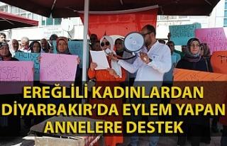 Kadınlardan Diyarbakır'da eylem yapan annelere...