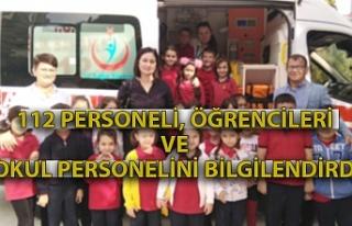 112 personeli öğrencileri ve okul personelini bilgilendirdi