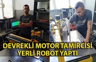 Devrekli motor tamircisi yerli robot yaptı