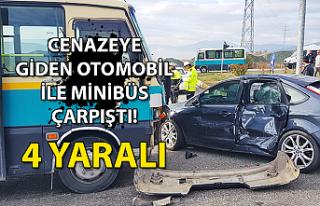 Cenazeye giden otomobil ile minibüs çarpıştı:...