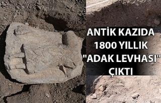 """Antik kazıda 1800 yıllık """"adak levhası""""..."""