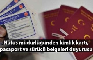 Nüfus müdürlüğünden kimlik kartı, pasaport...