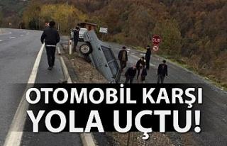 OTOMOBİL KARŞI YOLA DÜŞTÜ!