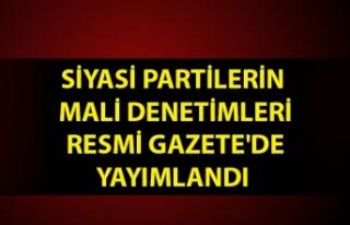 Siyasi partilerin mali denetimleri Resmi Gazete'de...