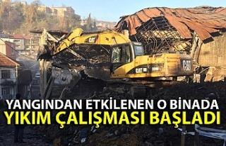 Yangından etkilenen o binada yıkım çalışması...
