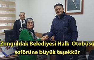 Zonguldak Belediyesi Halk Otobüsü şoförüne büyük...