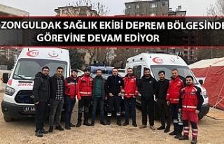 Zonguldak sağlık ekibi deprem bölgesinde görevine...
