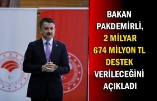 Bakan Pakdemirli, 2 milyar 674 milyon TL destek verileceğini...
