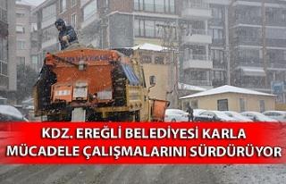 Kdz. Ereğli belediyesi karla mücadele çalışmalarını...