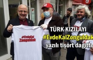 TÜRK KIZILAYI #EvdeKalZonguldak yazılı tişört...
