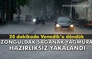 Sağanak yağış Zonguldak'ı hazırlıksız...