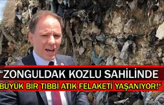 """""""Zonguldak Kozlu sahilinde büyük bir tıbbi atık..."""