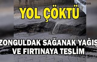 Yol çöktü Zonguldak sağanak yağış ve fırtınaya...