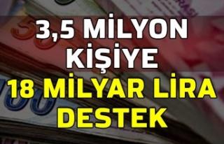 3,5 milyon kişiye 18 milyar lira destek