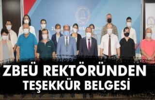 ZBEÜ REKTÖRÜNDEN TEŞEKKÜR BELGESİ...