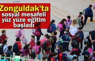 Zonguldak'ta sosyal mesafeli yüz yüze eğitim...