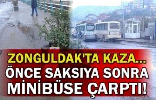 Zonguldak'ta kaza... Önce saksıya sonra minibüse...