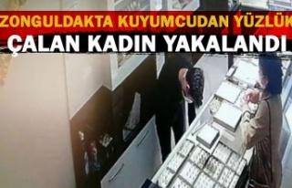 Zonguldakta kuyumcudan yüzlük çalan kadın yakalandı