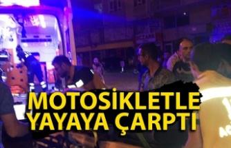 Ereğli'de bir genç amcasından izinsiz aldığı motosikletle yayaya çarptı
