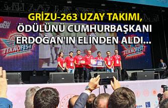 Grizu-263, ödülünü Cumhurbaşkanı Erdoğan'ın elinden aldı...