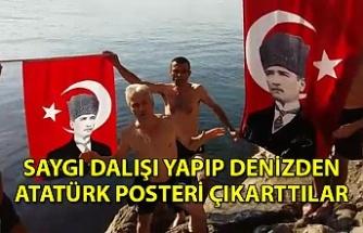 Saygı dalışı yapıp denizden Atatürk posteri çıkarttılar