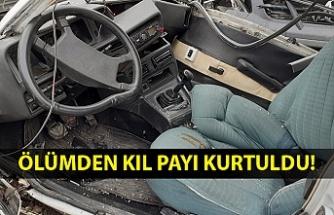 Hurdaya dönen otomobilin sürücüsü ölümden döndü