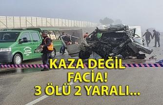 Panelvan minibüs ile çakıl taşı yüklü kamyon çarpıştı: 3 ölü, 2 yaralı