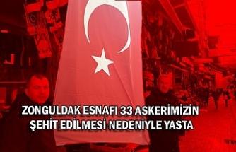 Zonguldak esnafı 33 askerimizin şehit edilmesi nedeniyle yasta
