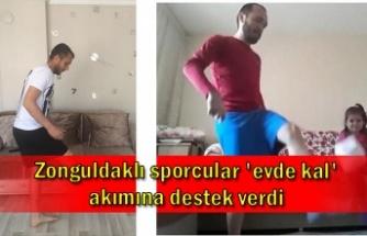 Zonguldaklı sporcular 'evde kal' akımına destek verdi