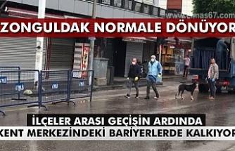 Zonguldak normale dönüyor. İlçeler arası geçişin ardından kent merkezindeki bariyerlerde kalkıyor...