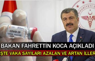Bakan Fahrettin Koca açıkladı. İşte vaka sayıları azalan ve artan iller