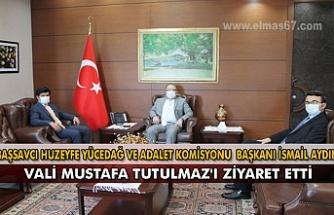 Başsavcı Huzeyfe Yücedağ ve Adalet Komisyonu Başkanı İsmail Aydın Vali Mustafa Tutulmaz'ı ziyaret etti.