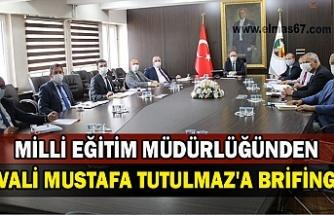 Milli Eğitim Müdürlüğünden Vali Mustafa Tutulmaz'a brifing.