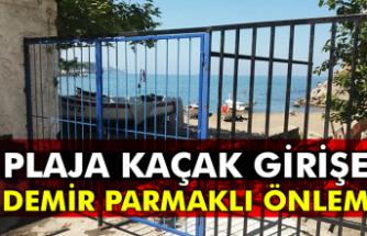 Plaja kaçak girişe demir parmaklı önlem