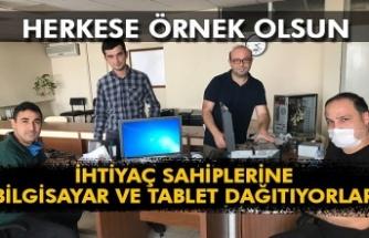 İhtiyaç sahiplerine bilgisayar ve tablet dağıtıyorlar