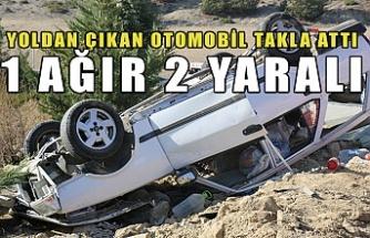 Yoldan çıkan otomobil takla attı: 1 ağır 2 yaralı