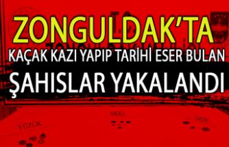 Zonguldak'ta kaçak kazı yapıp tarihi eser bulan şahıslar yakalandı