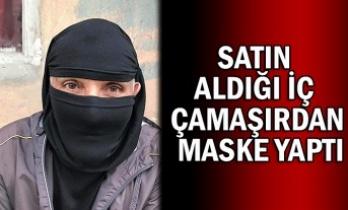 Satın aldığı iç çamaşırdan maske yaptı