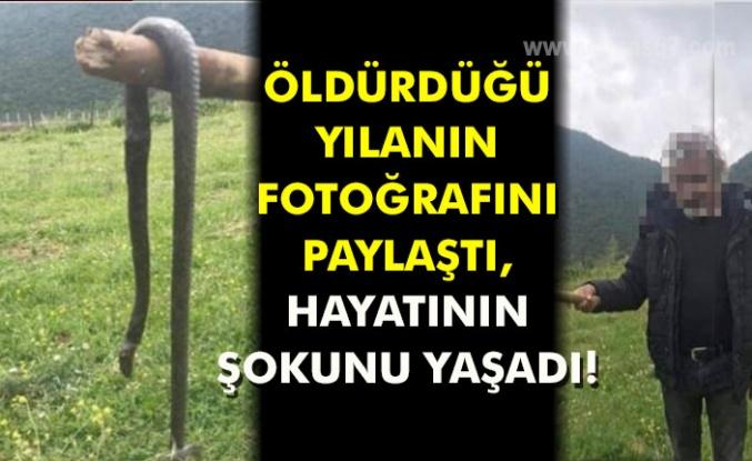 ÖLDÜRDÜĞÜ YILANIN FOTOĞRAFINI PAYLAŞTI, HAYATININ ŞOKUNU YAŞADI!