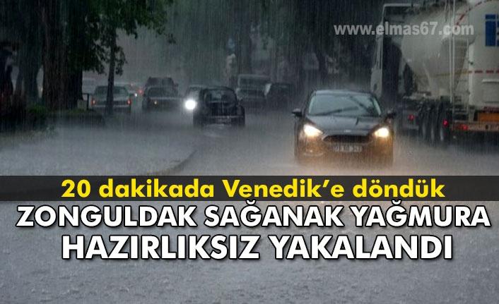 Sağanak yağış Zonguldak'ı hazırlıksız yakaladı