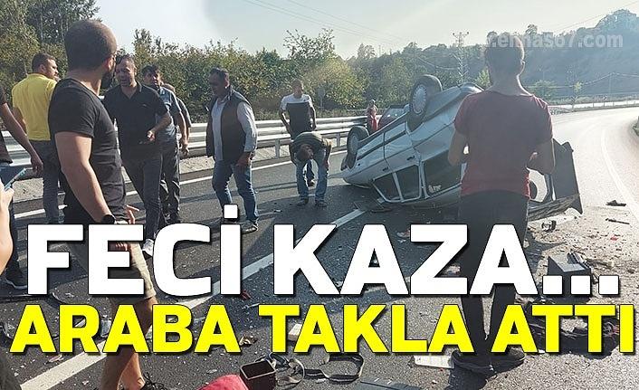 Feci kaza... Araba takla attı