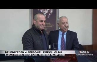 Muharrem Akdemir, emekli olan 4 işçi personele plaket verdi